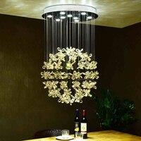 С украшением в виде кристаллов в виде цветочного шара светодиодный подвесной светильник для гостиной люстра для спальни ресторана Простой