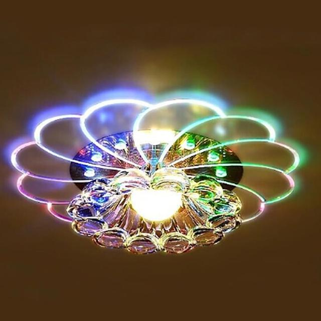 SOLLED Luxurious Crystal Chandelier LED Ceiling Lamp Colorful Light 5W Flush Mount for Hallway Bedroom Kitchen Decor