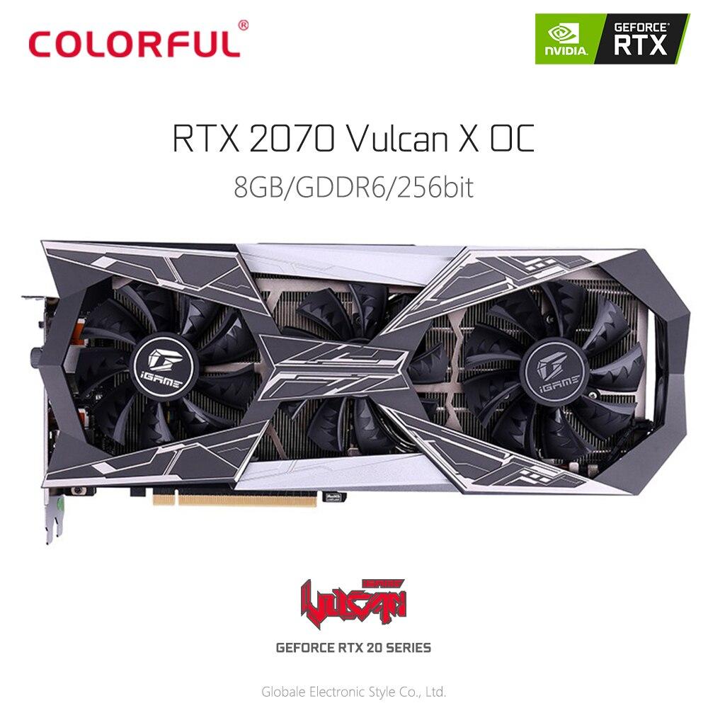 Carte graphique vidéo originale iGame GeForce RTX 2070 Vulcan X OC pour le jeu GDDR6 8G 256Bit