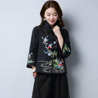 Chinese blouse shirt traditional chinese clothing for women linen oriental China clothing womens tops and blouses DD1617