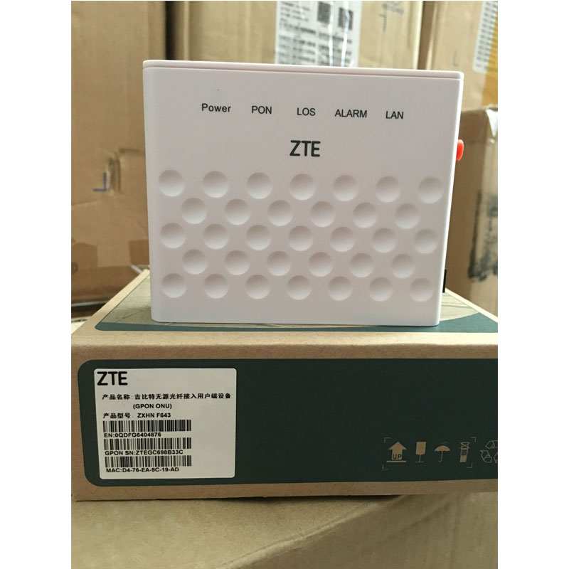 100% Original New ZTE F643 GPON ONU ONT FTTH Router With 1GE Apply To FTTH Modes, Termina Gpon English Version