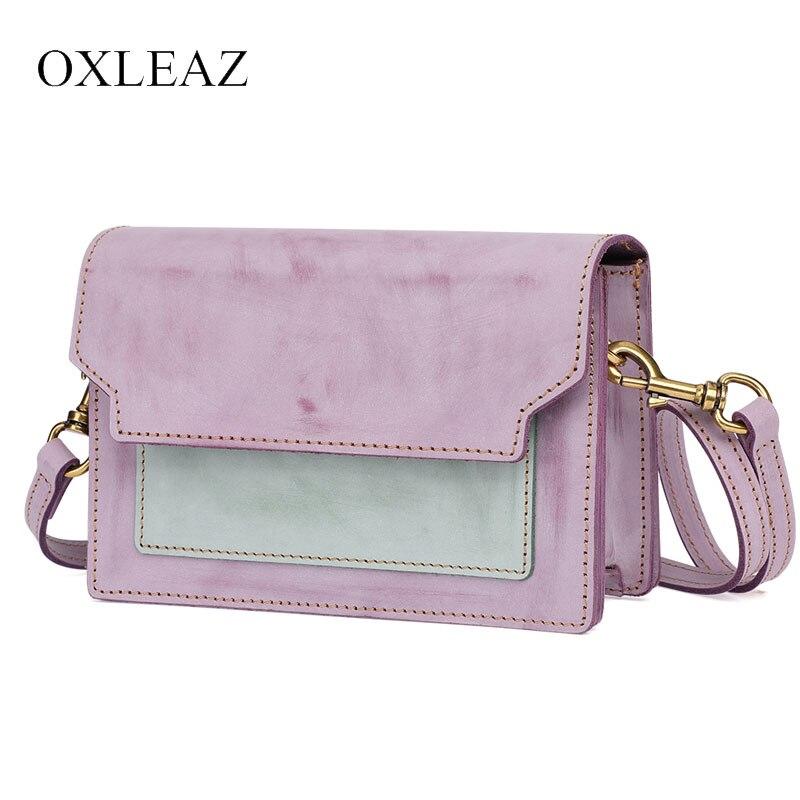 OXLEAZ mignon lambrissé en cuir véritable dames Mini sac à main Designer sacs célèbre marque femme sacs petits sacs à bandoulière pour les femmes