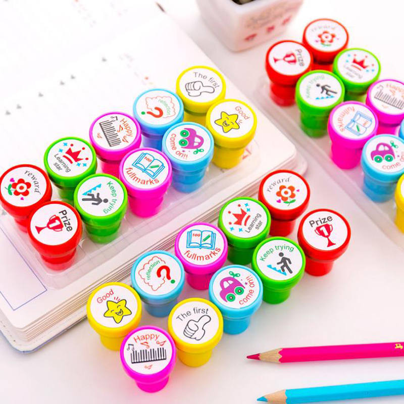 10 Pcs/pack Kawaii English Comment Seal Stamps Set Learning Stamp Teaching Kids Kindergarten Children Prizes Stationery