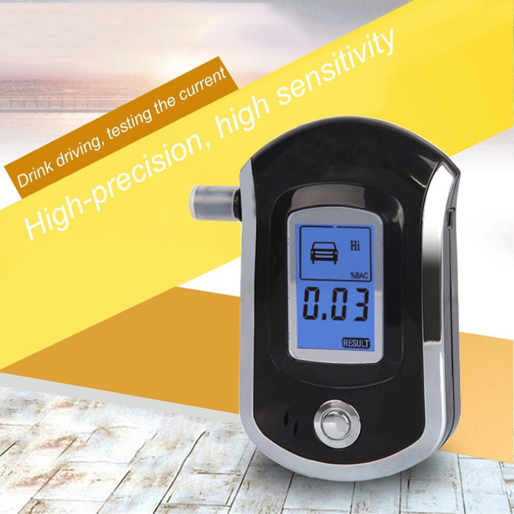 new Professional Digital Breath Alcohol Tester Breathalyzer with LCD Dispaly with 5 Mouthpieces AT6000 Hot Selling Drop Shipping цена