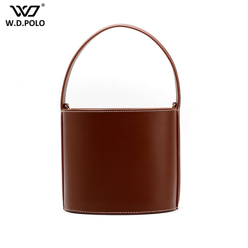 WDPOLO Women Bags Fashion Ladies Split Leather Handbag High Quality Bucket Female Tote Trendy Lady Bag C518 new split leather snake skin pattern women trunker handbag high chic lady fashion modern shoulder bags madam seeks boutiquem2057