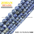 Top quality Natural Stone bule spot stone beads Round Loose beads ball SIZE 4/6/8/10/12MM Jewelry bracelet Strand making diy new