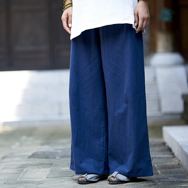 Solid Elastic waist Linen Cotton Women Harem Pants Summer Loose ...