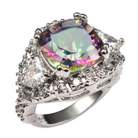 Huge Rose Rainbow Crystal ZirconWith Multi White Crystal Zircon 925 Sterling Silver Ring For Women Size 6 7 8 9 10 11 F1473