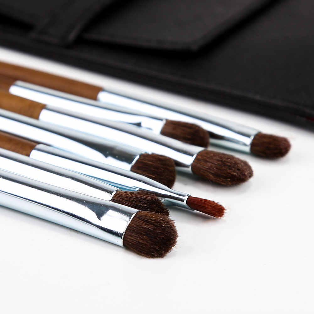 ZOREYA набор кистей для макияжа 7 шт. кисти для макияжа волос пони с высококачественной полиуретановой кожаной сумкой растушевывание теней для бровей Кисть для глаз