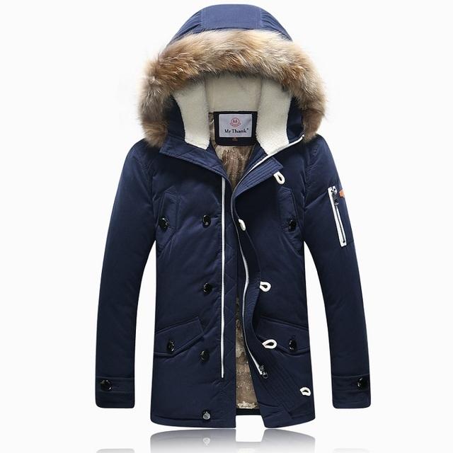 Marca inverno casaco Com Capuz De Pele dos homens Para Baixo outerwear masculino Cashmere quente À Prova de Vento engrossar 90% de pato Branco para baixo jaqueta plus tamanho