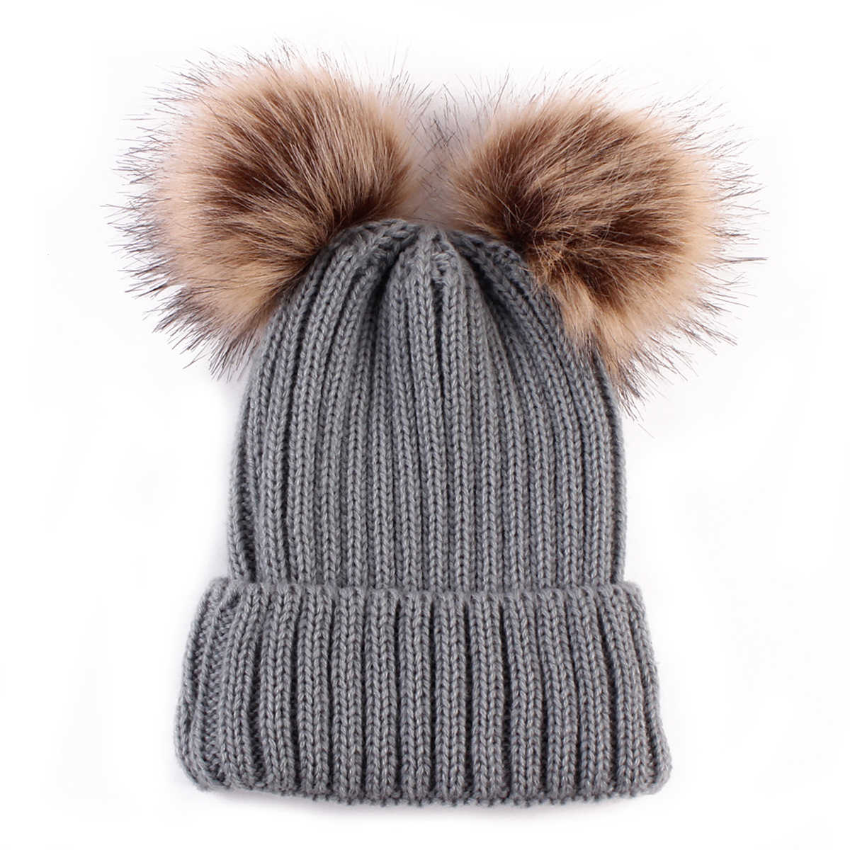 a3b053345ab ... Baby Boy girl Winter Warm Knit Beanie Hat Winter infant Hat Double  Pompom Hats Fur Ball ...