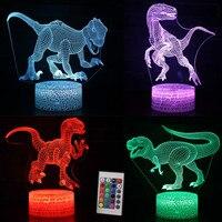 2018 3D Динозавр игрушки Велоцираптор иллюсветодио дный Зия Светодиодная лампа с 7 цветов Светящиеся в темноте игрушки для детей Спальня Декор...