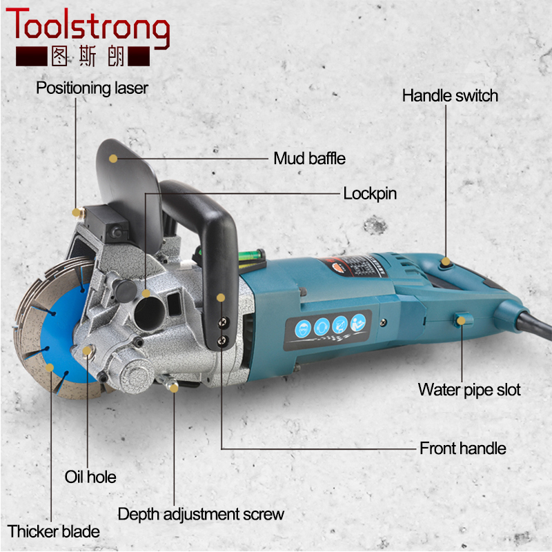 Toolstrong 121mm 4800W output 3000W input Multifunction Wall Stone Road Groove Cutting Chasing Machine 5pcs blades