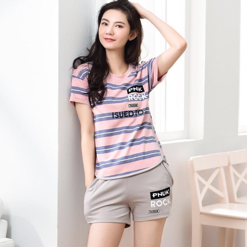 Striped Cotton Pajamas Sets Women Cartoon Pajamas Cute Couples Loungewear Pyjama Femme Men's Sleepwear Home Clothing