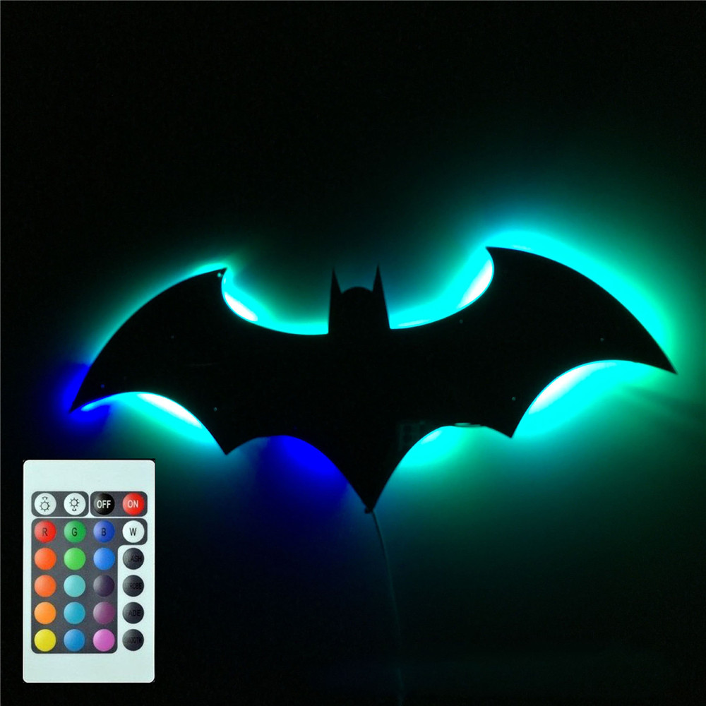 Bat Remote Wall Lamps Creative Cosmetic Mirror Baby Kids Night Light Bedroom Bathroom Vanity Decoration Toy Novelty Gift USB RGB