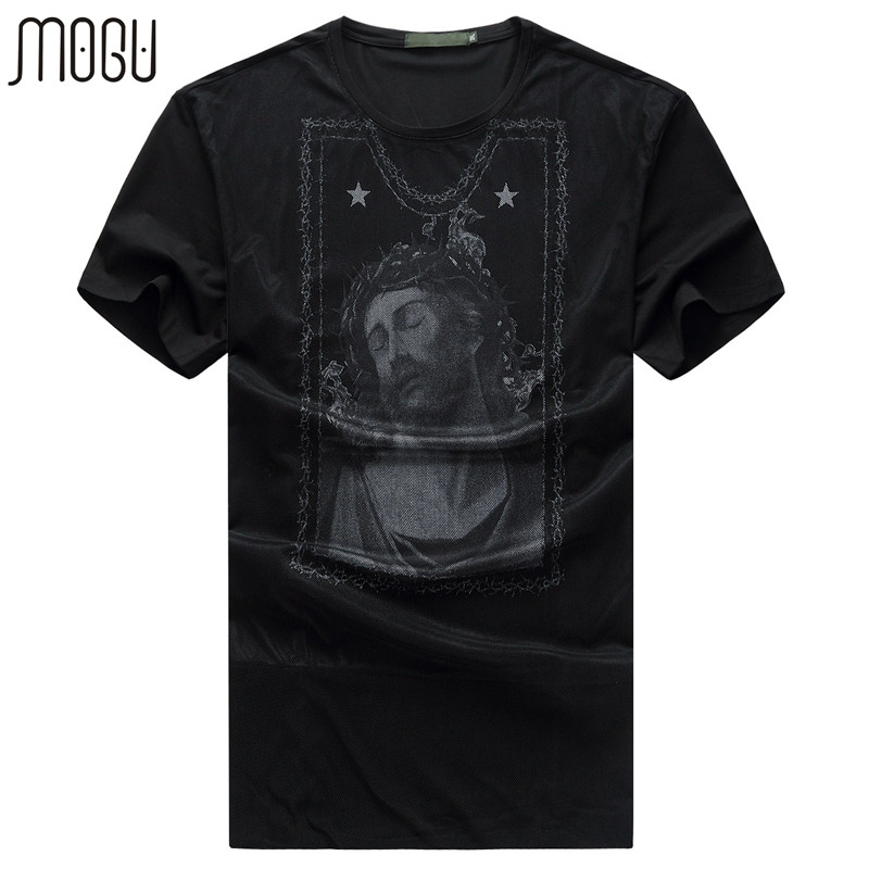 MOGU Short Sleeve Casual Shirt Men Fashion Character Mens T-shirt 2017 New Loose Summer Dresses For Men Plus Size T-shirt Men