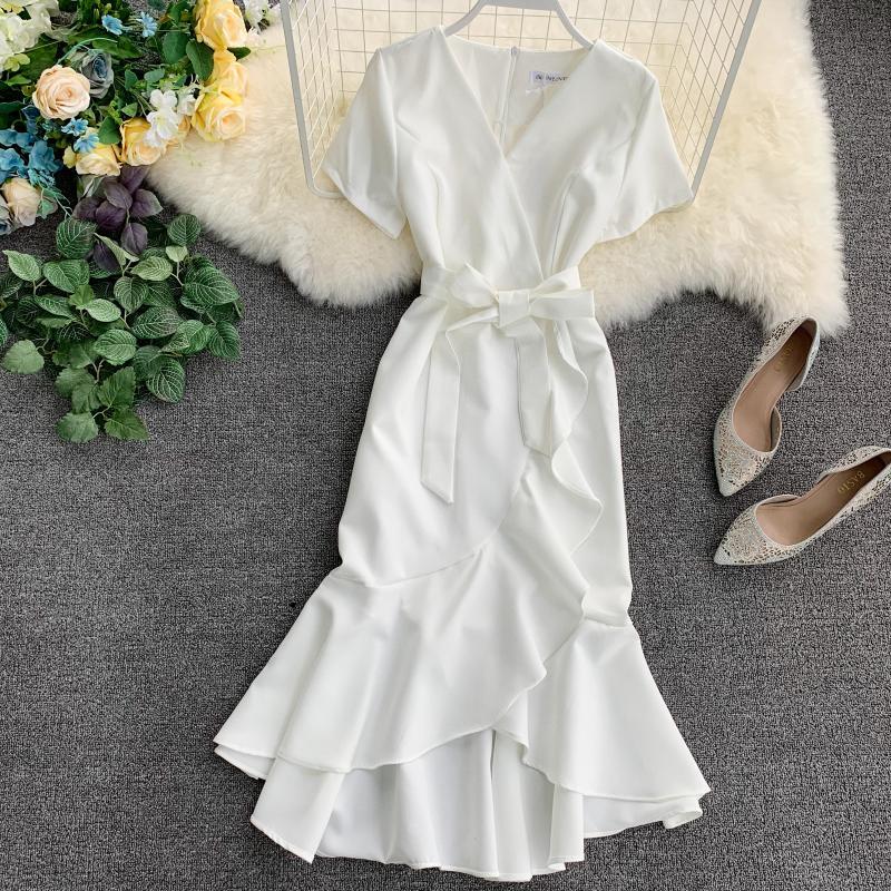 2019 new fashion women's dress retro sexy short-sleeved high-waist straps split irregular ruffled dress 4