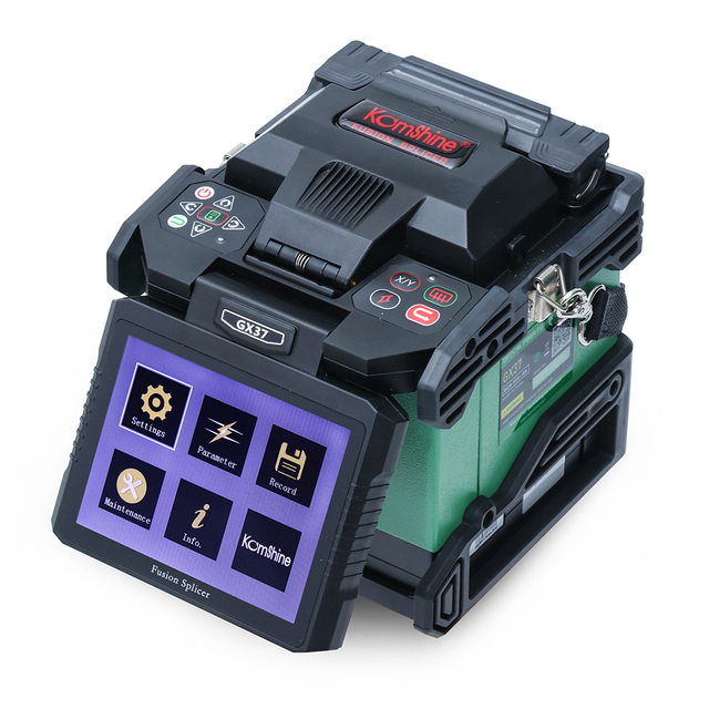 Komshine newest GX37 optic fiber fusion splicer  with one pair electrodes and KF 52 high precision optic fiber cleaver