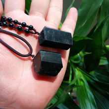 Black Tourmaline Stone Pendant Necklace