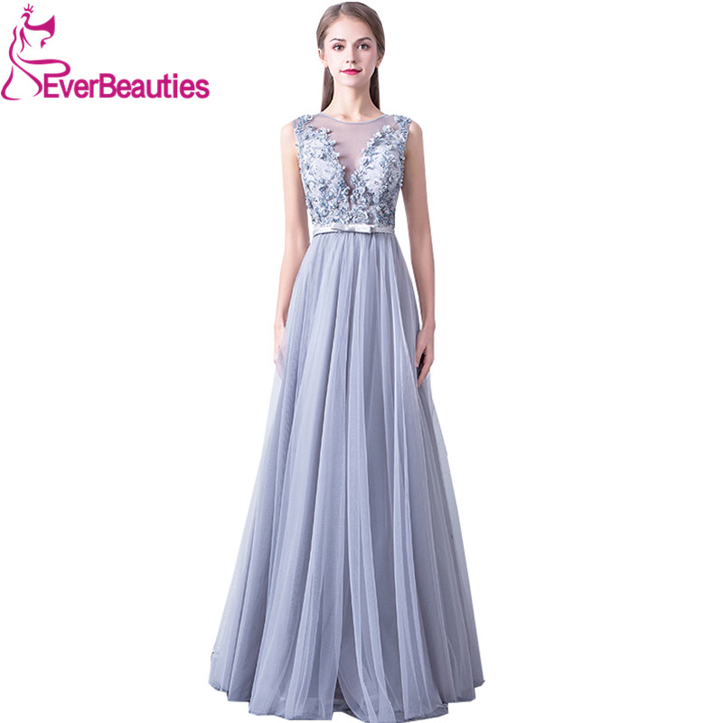 O Neck Sleeveless   Evening     Dresses   Long Tulle Appliques Beading Party Gowns   Evening   Gowns Prom   Dresses   Robe De Soiree