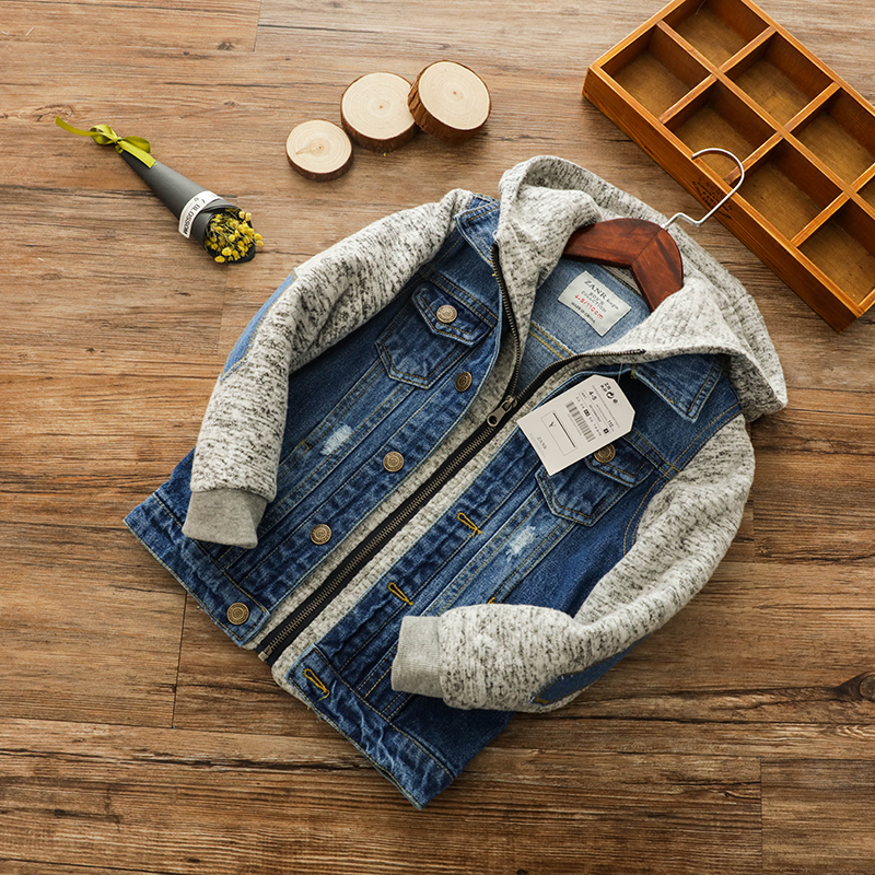 Boy Hooded Jacket Spring and Autumn New Children's Wear Middle Child Washed White Hole Jeans vivienne sabo eyeshadow longlasting mono petits jeux тени для век устойчивые тон 113