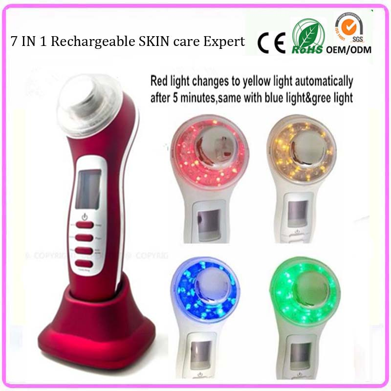 High Frequency Ultrasonic Galvanic Photon Ion Face Pores Cleanser Skin Rejuvenator Anti Aging Facial Beauty Equipment Machine anti acne pigment removal photon led light therapy facial beauty salon skin care treatment massager machine