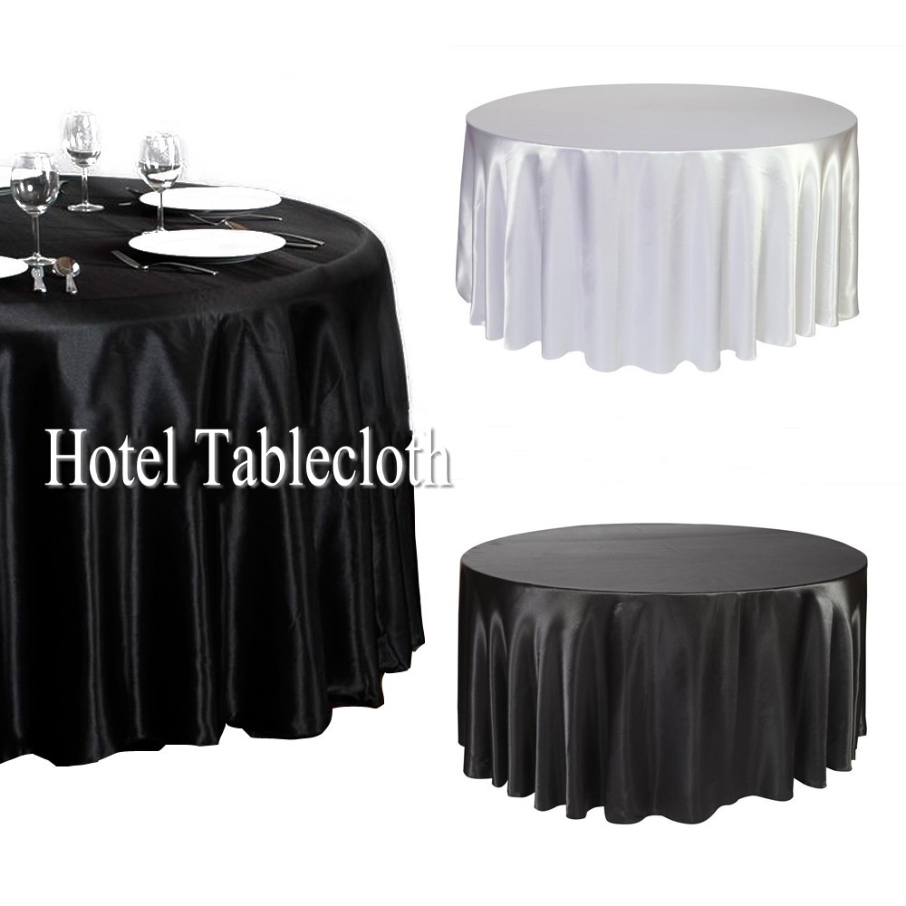 Black / White 120 Inch Round Satin Tablecloths Table Cover For Wedding  Party Restaurant Banquet Decorations