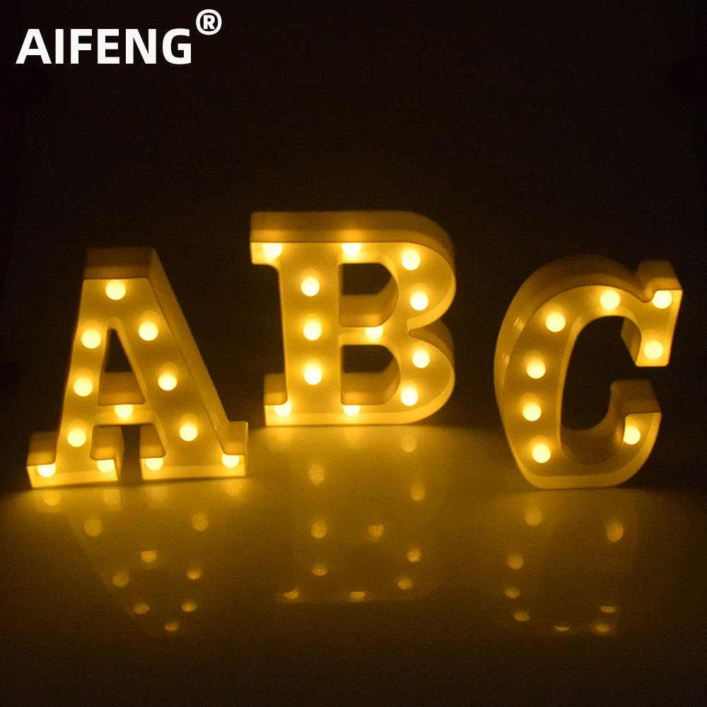 AIFENG DIY 26 English Letter LED Night Light 3D Marquee Sign Alphabet Wall Hanging Wedding Birthday Party Christmas Decor