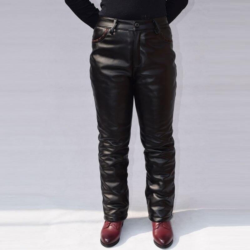 Pantalon droit moto simili cuir femme mère pantalon pantalons en cuir synthétique polyuréthane pour femme moyen age coupe-vent chaud taille haute noir