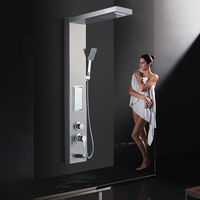 Luxury Shower Panel Spa Shower Tower Massage Body Jets Waterfall Rainfall Shower Stainless Steel Shower System
