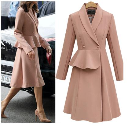 2019 Spring Elegant Women   Trench   Cotton Streetwear Full Long Turn-down Collar Office Lady Button Ruffles Double Breasted   Trench