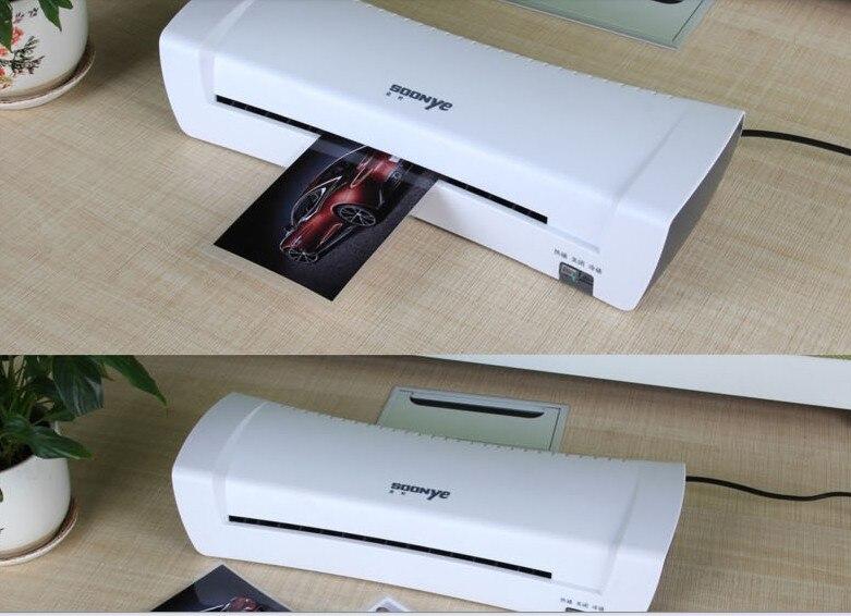 Blanco A4 foto laminador Oficina caliente y fría térmica máquina de laminación máquina profesional para A4 documento foto rollo de película de PET laminador