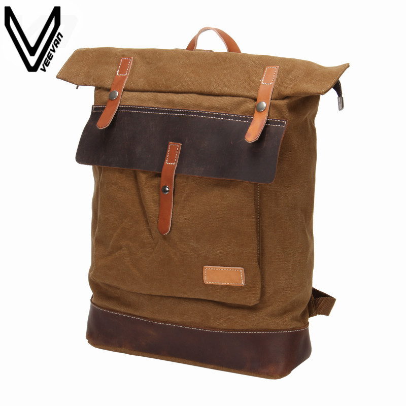 VEEVANV Vintage Canvas Backpacks For Men Fashion Laptop Backpacks Women's Canvas Leather Rucksack Campus Backpacks Travel Bags