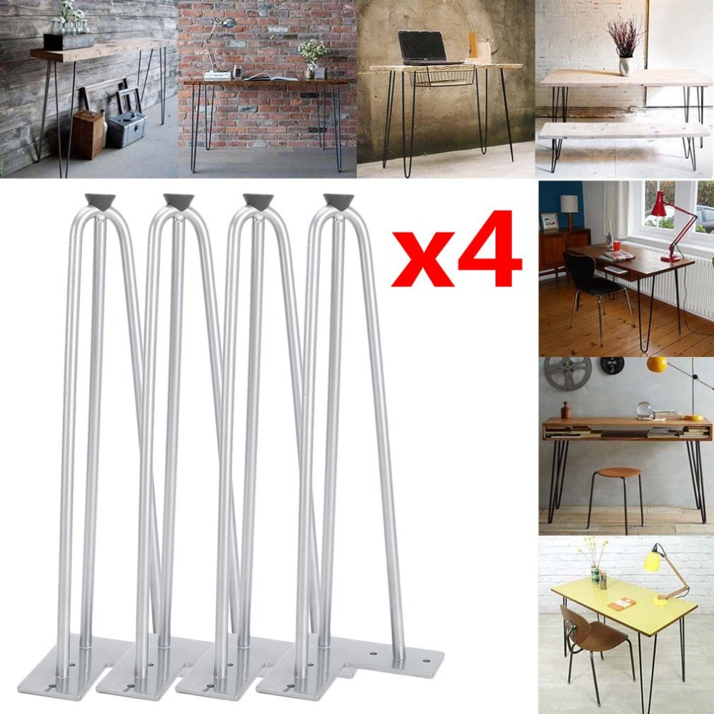 Hairpin Table Legs 4 PCS 14 Inch Coffee Table Legs 3 Rod Steel Replacement Leg Mid Century Modern Style Desk Furniture Parts