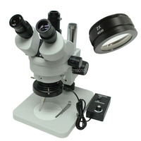 7X 90X Trinocular Industry Inspection Zoom Stereo Microscope System + LED Ring Light + C mount Adapter Support C Mount Camera