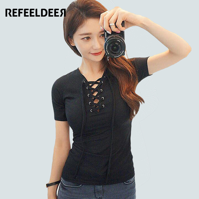 95% Cotton Brand T Shirt Women 2017 Summer Fashion Black T-shirt Female Short Sleeve Slim Tshirt Big Size Tops Tee Shirt Femme