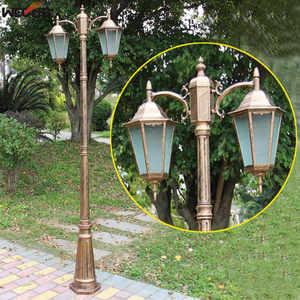 Image 2 - (H≈ 2.5M) אירופאי מעובה מנורת מוט שני למות יצוק אלומיניום אורות גן כביש תאורת תאורה