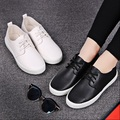 women casual round toe white flat shoes lady cute spring and summer pu leather flats female leisure lace up shoes student shoes