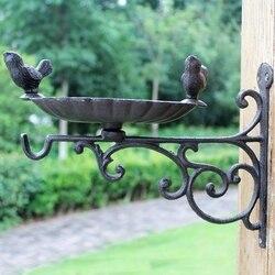 European Vintage para ptaków wokół ściennego żeliwnego podajnika ptaków metalowa płytka Retro Heavy Metal ściana oczko wodne z hakiem