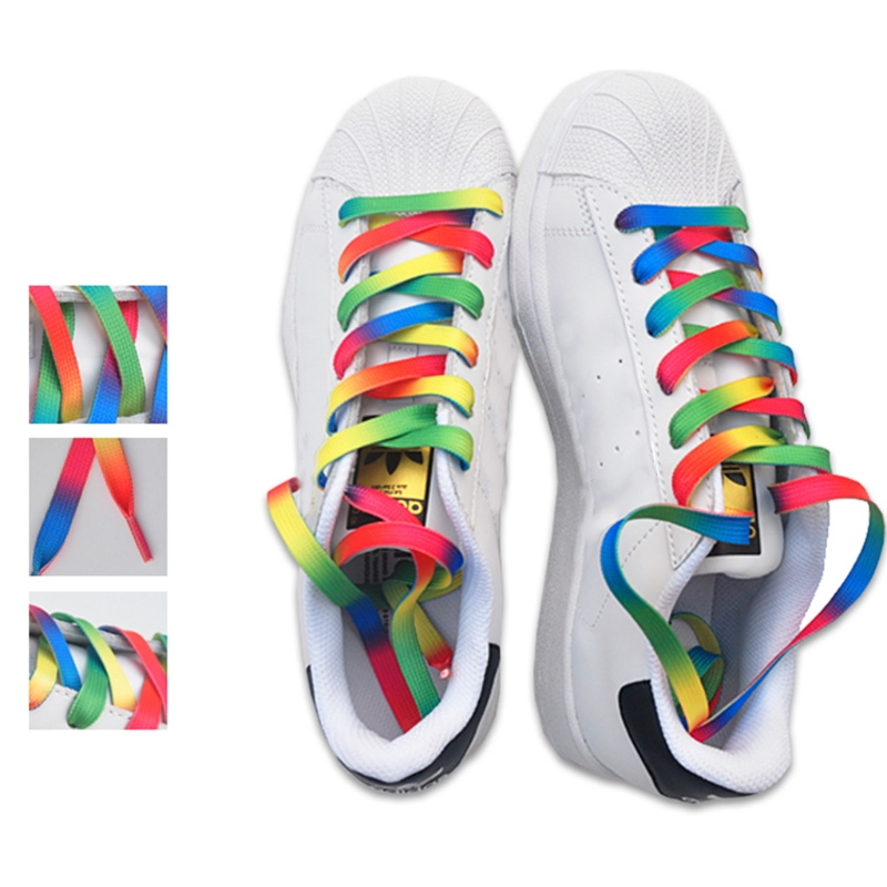 Rainbow Multicolor Terylene Shoelace 120CM Fashion Oblate Rope Shade Color Boot Strings Hot sale New Colorful 2017 fashion 1 35cm chiffon shoelace ice cream lace shoes strings colorful general use multi color new long durable