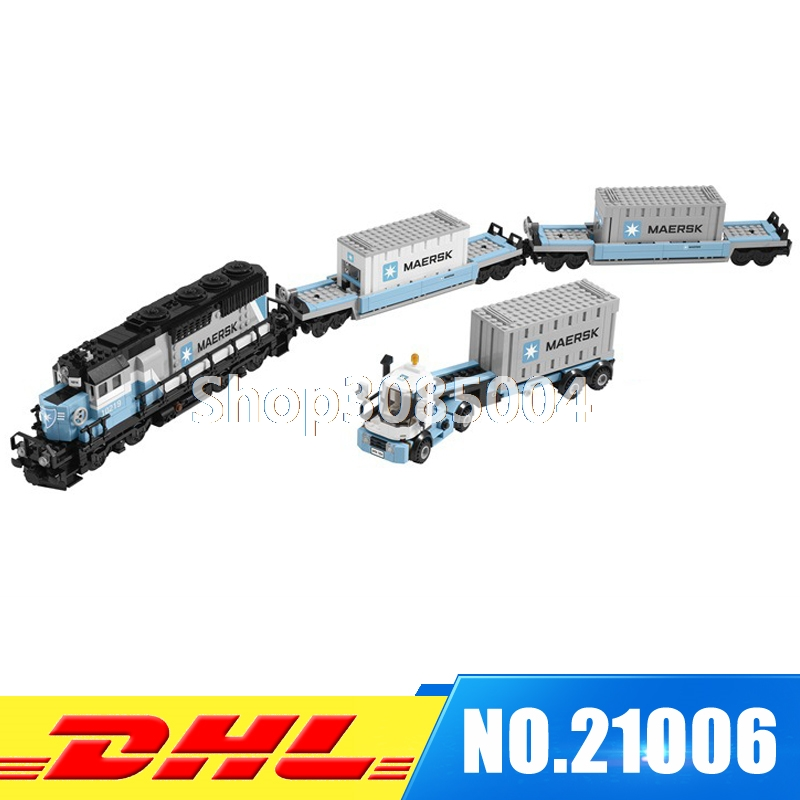 IN STOCK Lepin 21006 1234pcs New Genuine Technic Ultimate Series The Maersk Train Set Building Blocks Bricks Toys 10219 lepin 21006 compatible builder the maersk train 10219 building blocks policeman toys for children