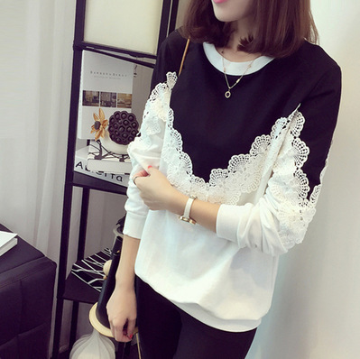lace woman t-shirt plus size Korean style lace patchwork o-neck long sleeve causal slim bottoming female t-shirt Tees 1