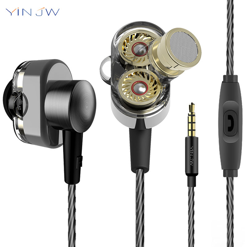 Original YINJW S1 Dual Driver System Speakers HIFI Bass Subwoofer In Ear Earphone Earbud Stereo Monitor Earbuds With Mic