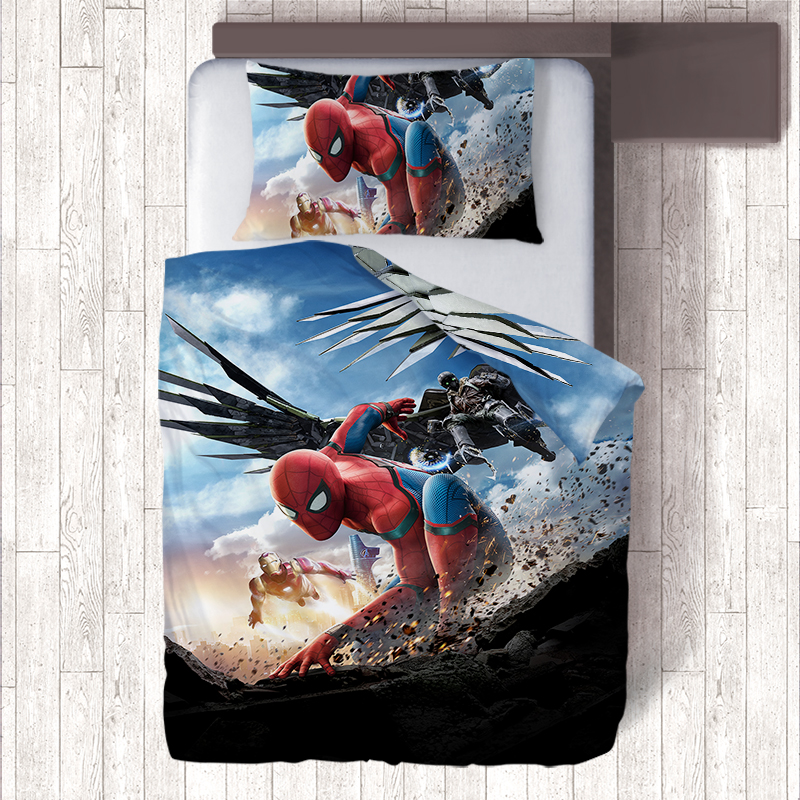 Spider man 3D Printing Duvet Cover Pillow Case Bedding Sets,Anime Kids Single Quilt Set,Bedroom Spiderman Homecoming ...
