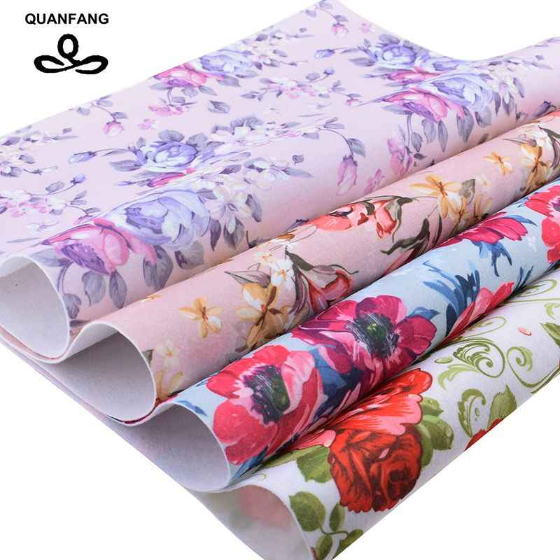 QUANFAN Floral Soft Felt Fabric,Printed Polyester NonWoven Felt Cloth,For Home Decoration Or Sewing Dolls&Crafts,40cmx45cm/piece