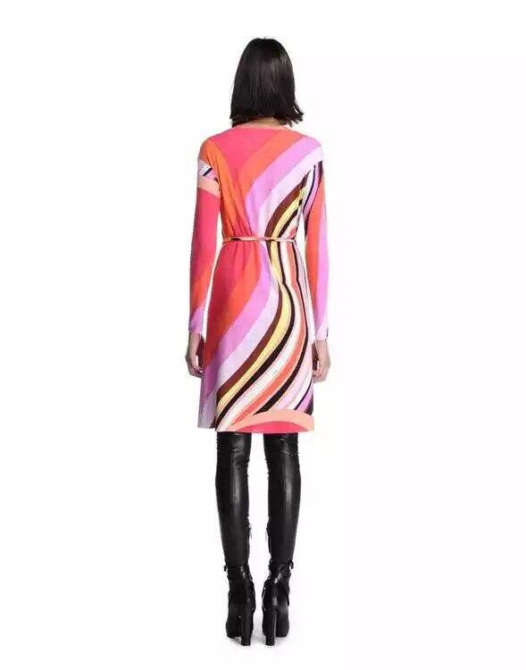 Marcas de lujo stretch Print XXL vestido 2015 otoño mujer manga larga rojo encantador geométrico Spandex firma estirable-in Vestidos from Ropa de mujer    2