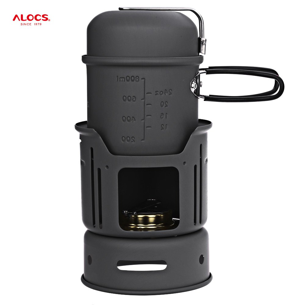 ALOCS CW - C01 Portable 1 - 2 Person 7pcs Camping Stove Cook Set with Pot Bowl Alcohol Stove for Outdoor Hiking Picnic alocs cw c01 outdoor tableware aluminium alloy 1 2 person 7pcs camping cook set portable for outdoor hiking picnic