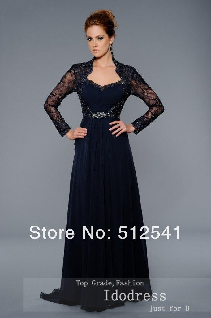 Long Sleeve mother of bridal dresses rhintestone sheer black women gown lace idodress 75 (2).jpg