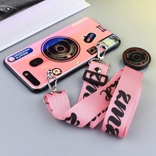 Fashion 3D Retro Camera Lanyard Protection Phone Case For Oneplus 5 5T 6 6T 7 Pro Electroplated Blue Light Camera Back Cover