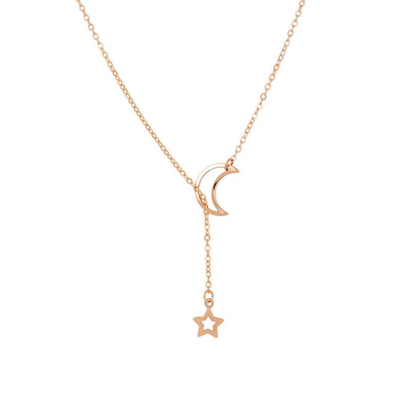 Crazy Feng Simple Link Chain Necklace For Women Cute Star Moon Long Pendant Necklace Gold/Silver Color Statement Fashion Jewelry
